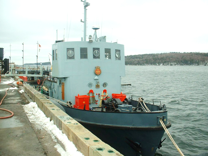 MRC was awarded the contract to recycle three DND Auxiliary Vessels including a YRG 60 refueling vessel, a YDG 2 Deperming Barge and a YDT 12 Granby pictured here.